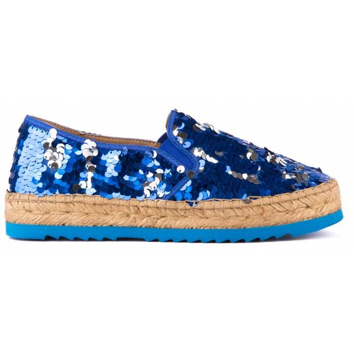 Espadrillas macro paillettes Blu