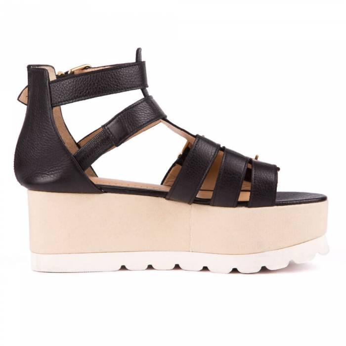 Sandalo con zeppa Nere
