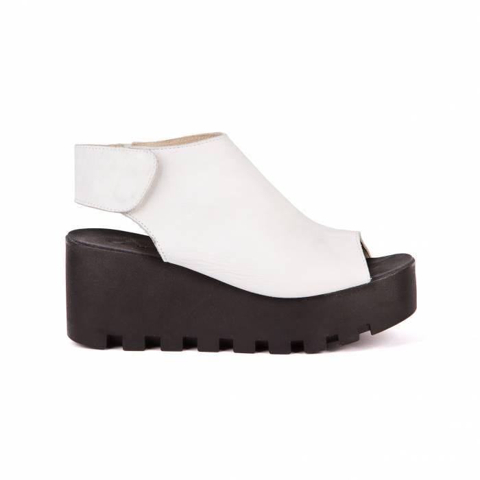 Sandalo con zeppa Bianche