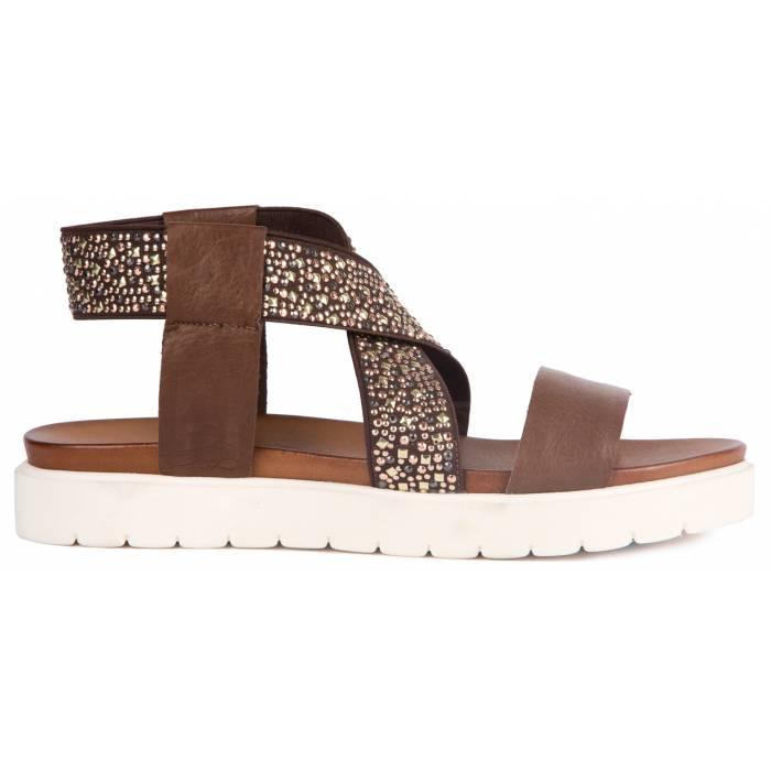 Sandalo pelle borchie Marroni