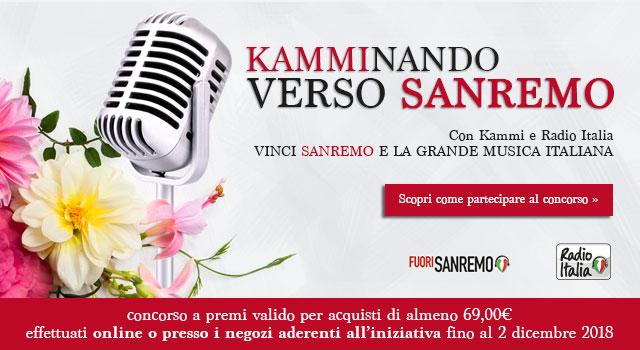 KAMMInando verso Sanremo. Con Kammi e Radio Italia vinci Sanremo e la Grande Musica Italiana! Scopri di più
