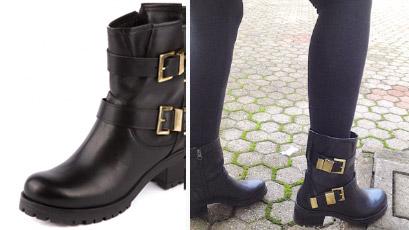 boots in pelle nera con suola in gomma