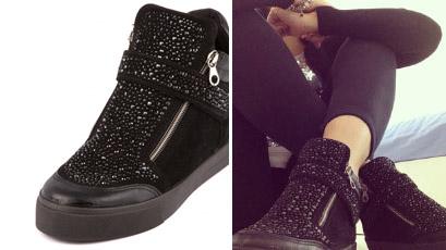 Sneakers da donna nera con glitter